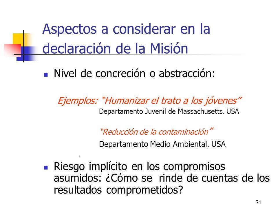 30 El valor de una organización no se limita al valor operativo de la MISION ACTUAL ¿Serán necesarias estas funciones y estos productos?