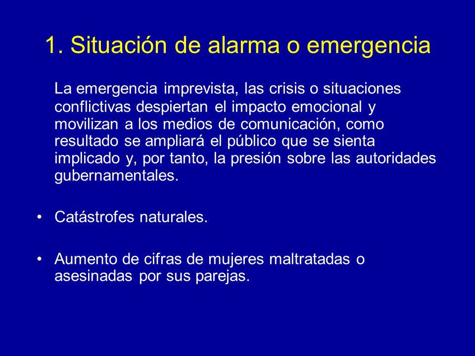 1. Situación de alarma o emergencia La emergencia imprevista, las crisis o situaciones conflictivas despiertan el impacto emocional y movilizan a los