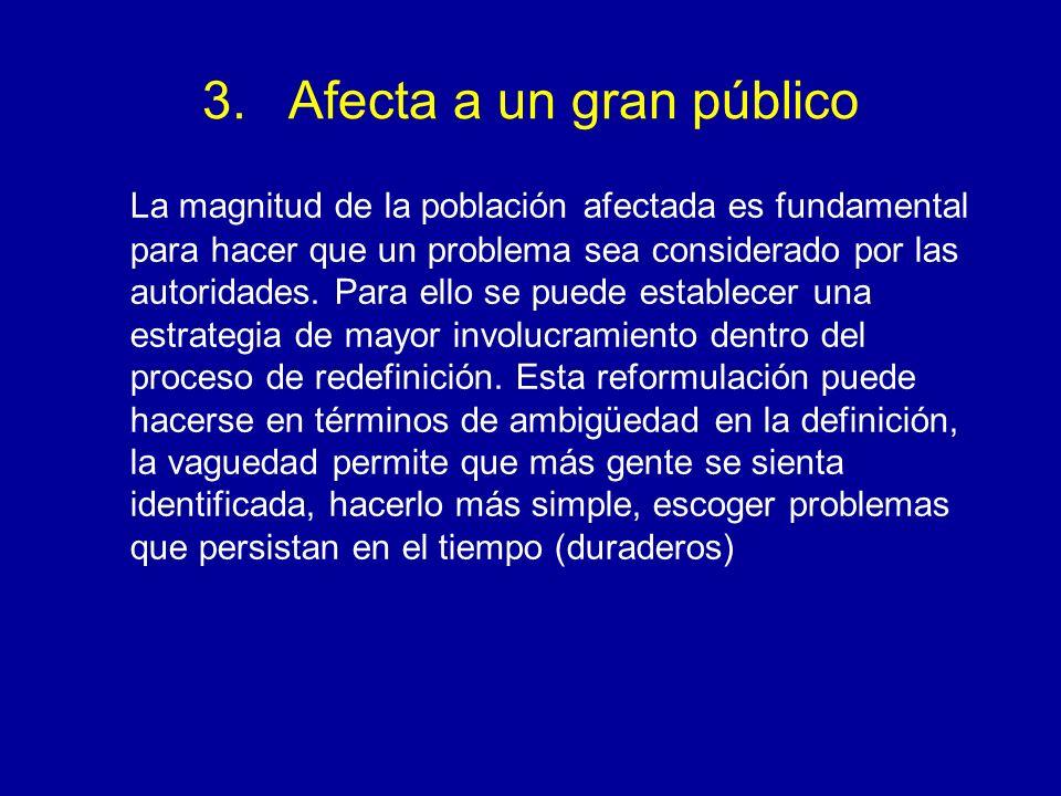 3.Afecta a un gran público La magnitud de la población afectada es fundamental para hacer que un problema sea considerado por las autoridades. Para el