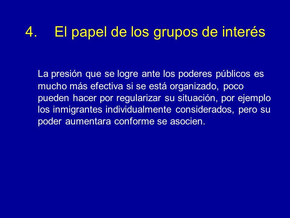 4. El papel de los grupos de interés La presión que se logre ante los poderes públicos es mucho más efectiva si se está organizado, poco pueden hacer