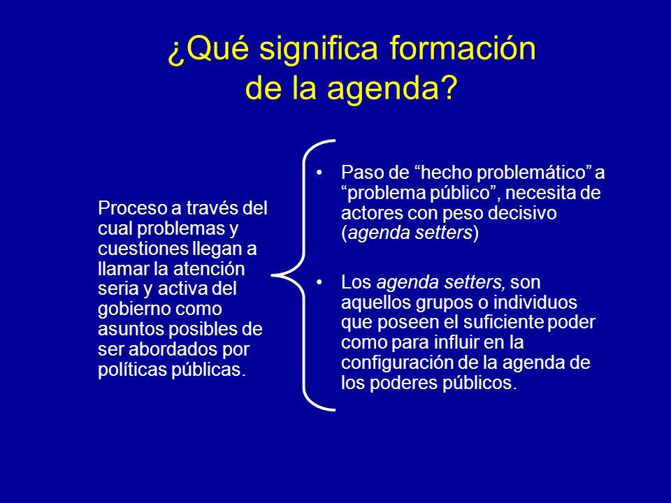 ¿Qué significa formación de la agenda? Proceso a través del cual problemas y cuestiones llegan a llamar la atención seria y activa del gobierno como a