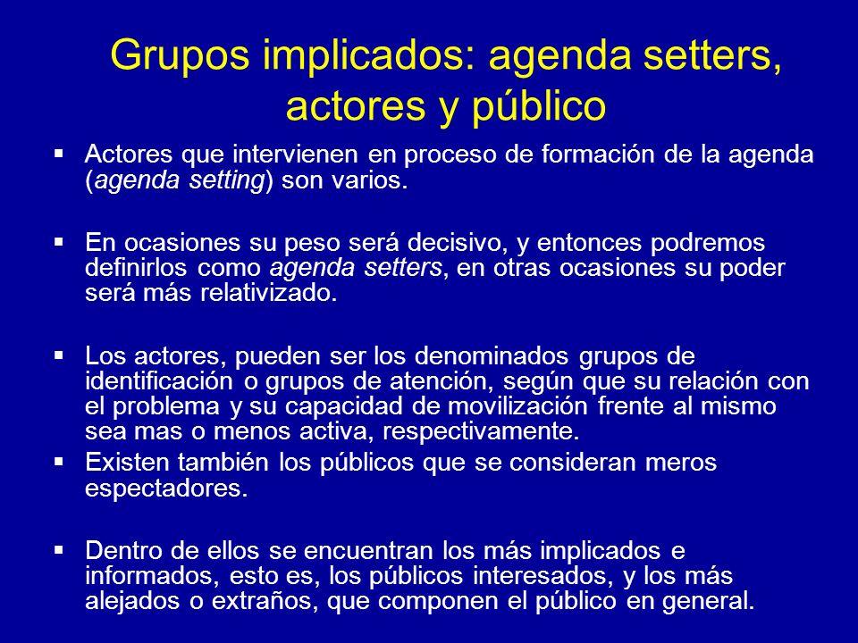 Grupos implicados: agenda setters, actores y público Actores que intervienen en proceso de formación de la agenda (agenda setting) son varios. En ocas