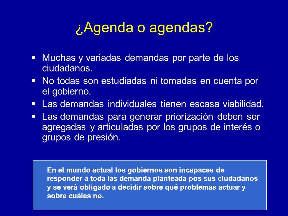 ¿Agenda o agendas? Muchas y variadas demandas por parte de los ciudadanos. No todas son estudiadas ni tomadas en cuenta por el gobierno. Las demandas