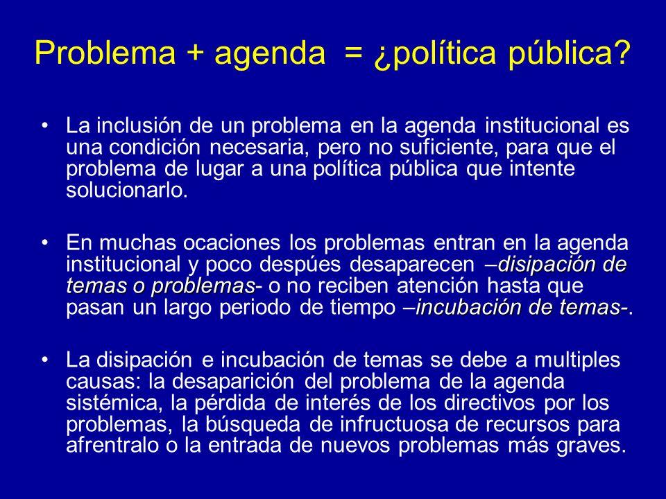 Problema + agenda = ¿política pública? La inclusión de un problema en la agenda institucional es una condición necesaria, pero no suficiente, para que