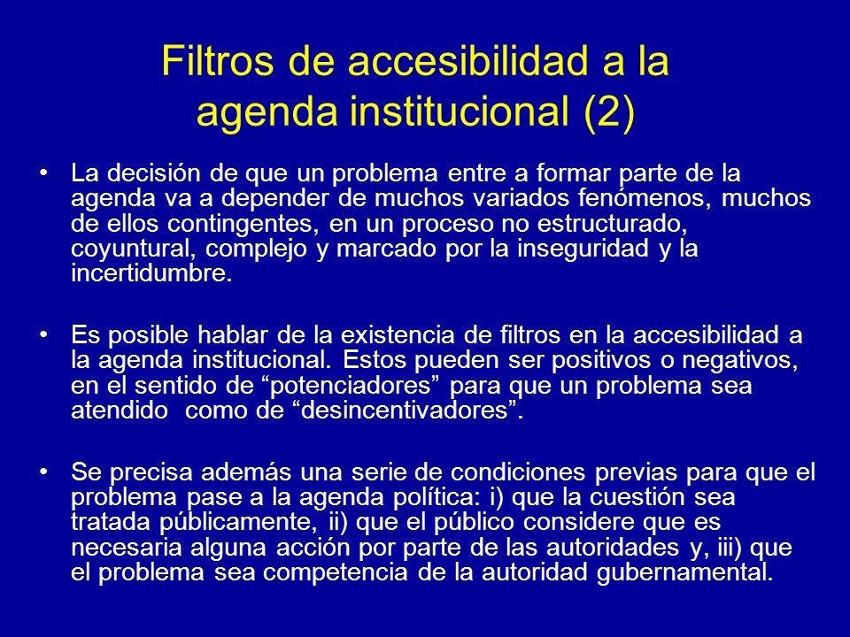 Filtros de accesibilidad a la agenda institucional (2) La decisión de que un problema entre a formar parte de la agenda va a depender de muchos variad