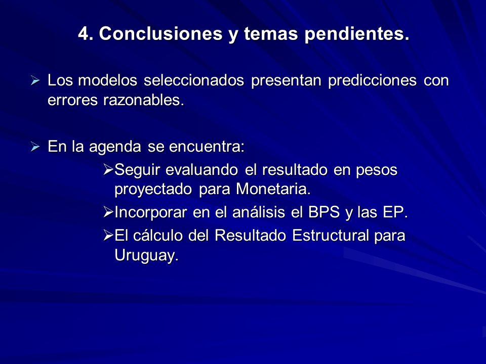 4. Conclusiones y temas pendientes.
