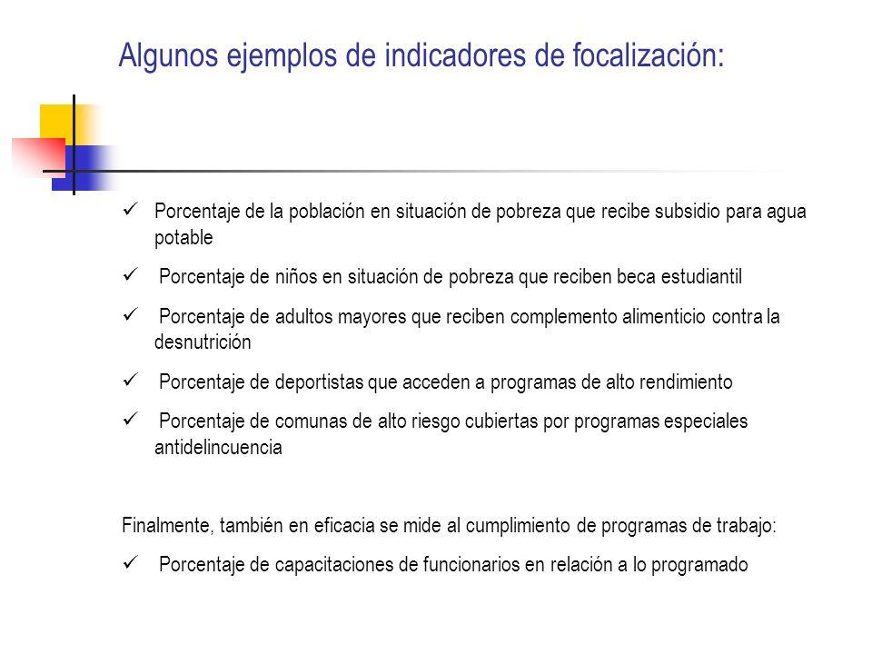 Algunos ejemplos de indicadores de focalización: Porcentaje de la población en situación de pobreza que recibe subsidio para agua potable Porcentaje d