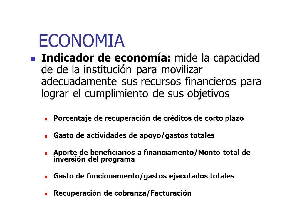 ECONOMIA Indicador de economía: mide la capacidad de de la institución para movilizar adecuadamente sus recursos financieros para lograr el cumplimien