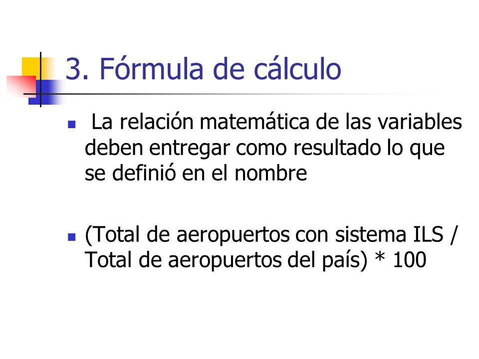 3. Fórmula de cálculo La relación matemática de las variables deben entregar como resultado lo que se definió en el nombre (Total de aeropuertos con s