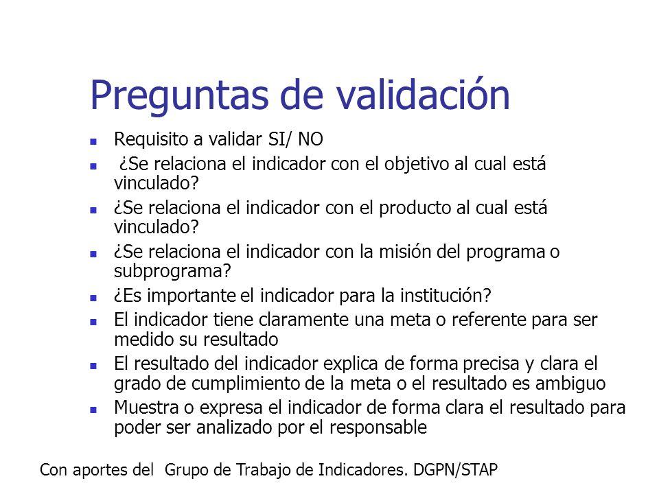 Con aportes del Grupo de Trabajo de Indicadores. DGPN/STAP Preguntas de validación Requisito a validar SI/ NO ¿Se relaciona el indicador con el objeti