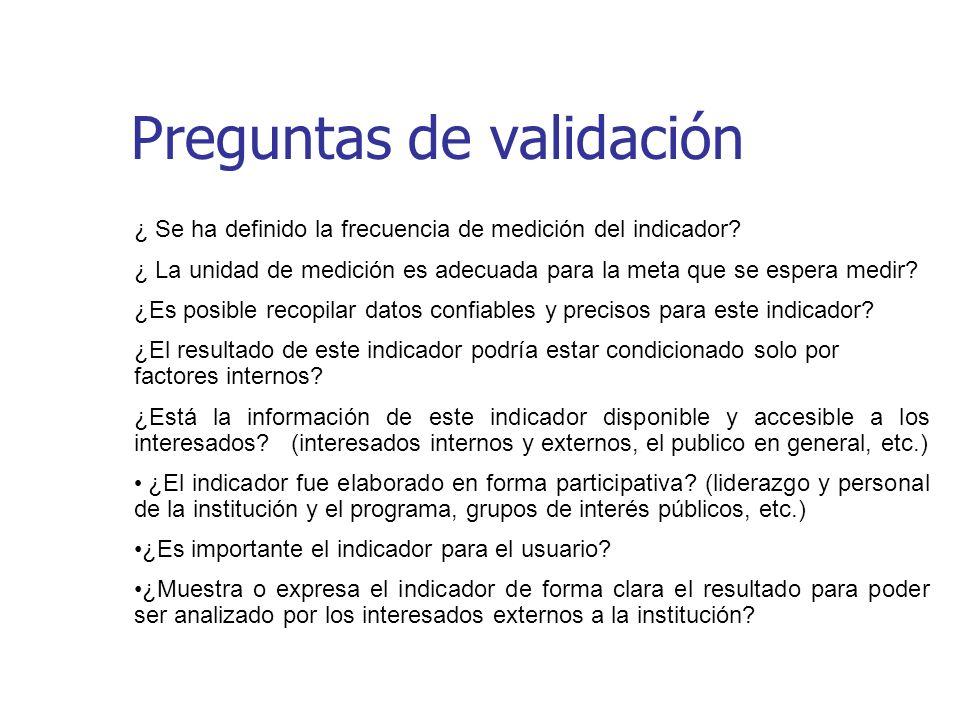 Preguntas de validación ¿ Se ha definido la frecuencia de medición del indicador? ¿ La unidad de medición es adecuada para la meta que se espera medir