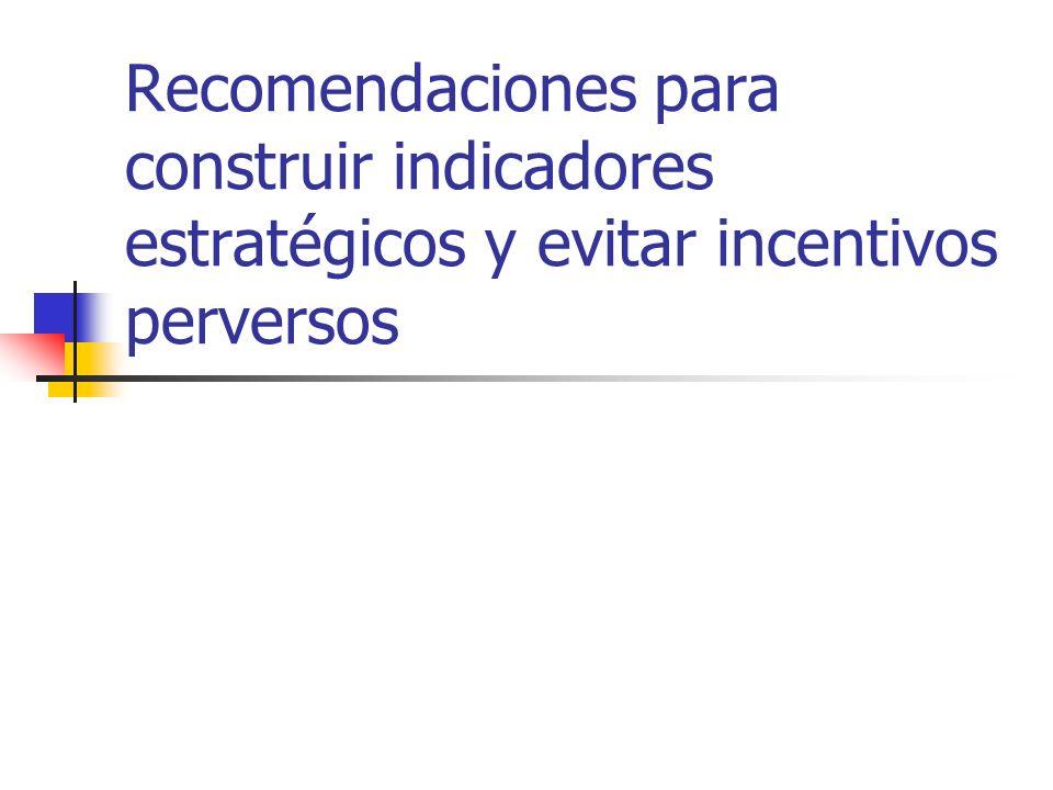Recomendaciones para construir indicadores estratégicos y evitar incentivos perversos