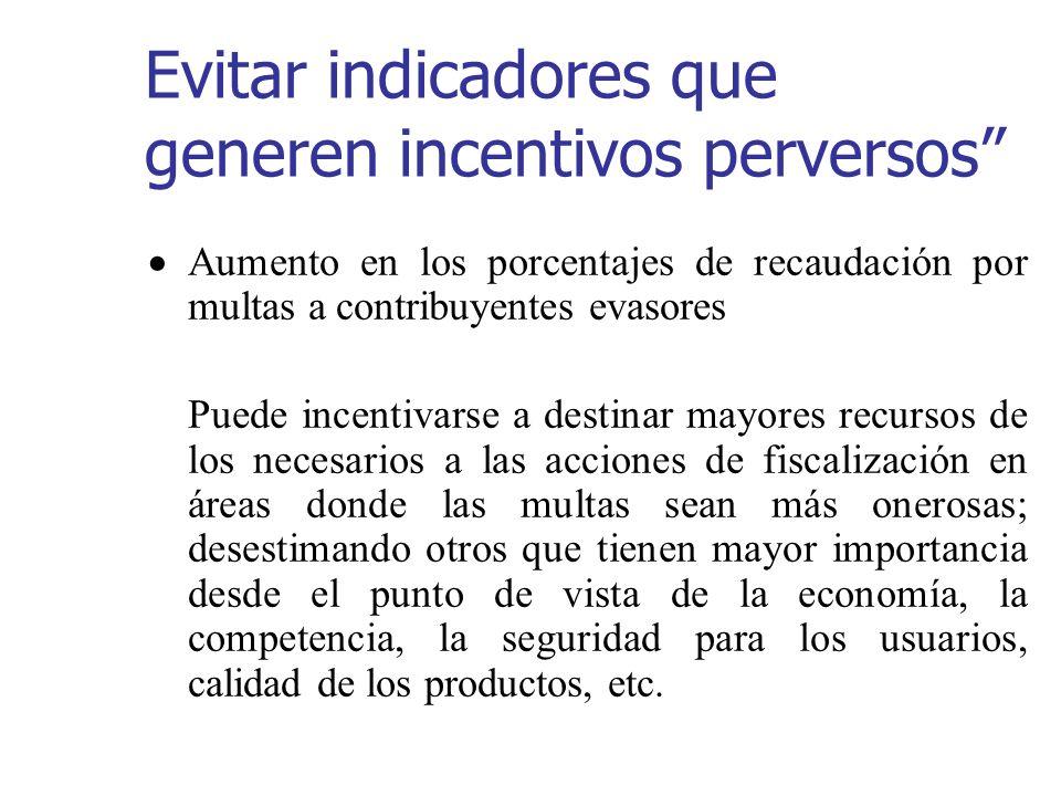 Evitar indicadores que generen incentivos perversos Aumento en los porcentajes de recaudación por multas a contribuyentes evasores Puede incentivarse
