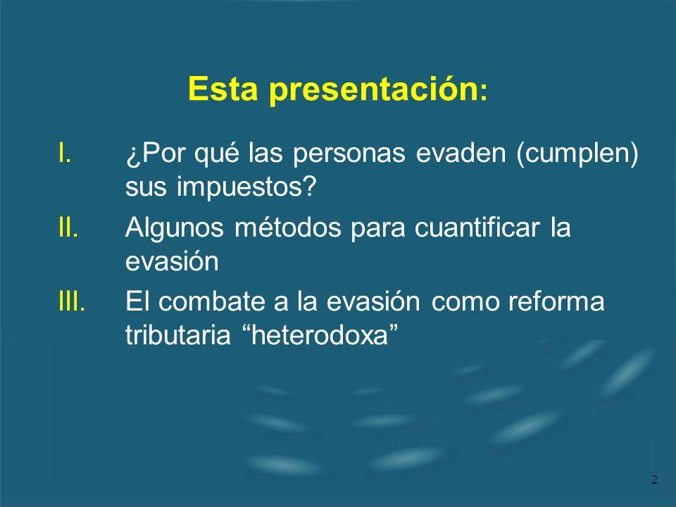 2 Esta presentación : I.¿Por qué las personas evaden (cumplen) sus impuestos? II.Algunos métodos para cuantificar la evasión III.El combate a la evasi