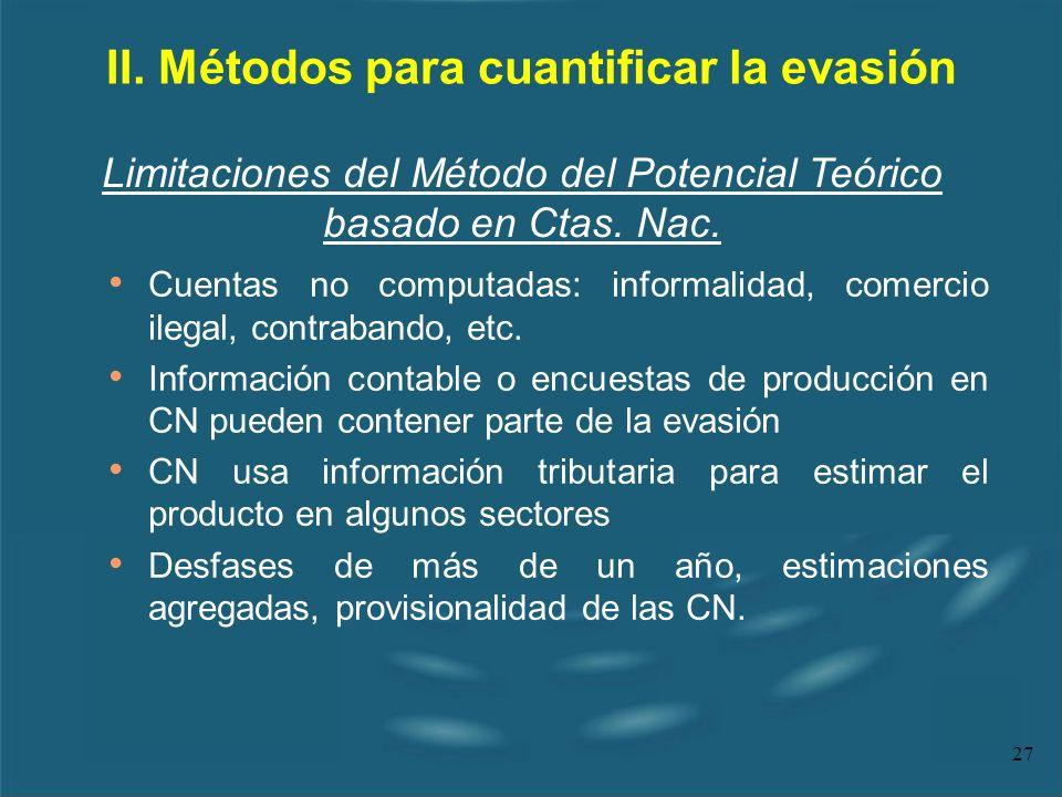 27 II. Métodos para cuantificar la evasión Cuentas no computadas: informalidad, comercio ilegal, contrabando, etc. Información contable o encuestas de