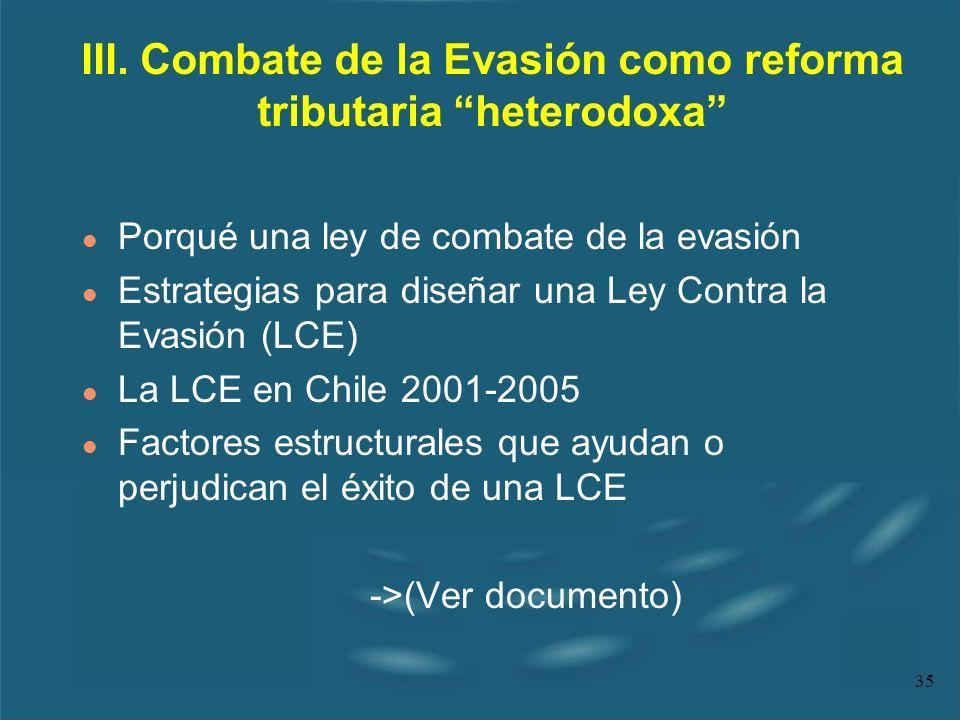 35 Porqué una ley de combate de la evasión Estrategias para diseñar una Ley Contra la Evasión (LCE) l La LCE en Chile 2001-2005 l Factores estructural