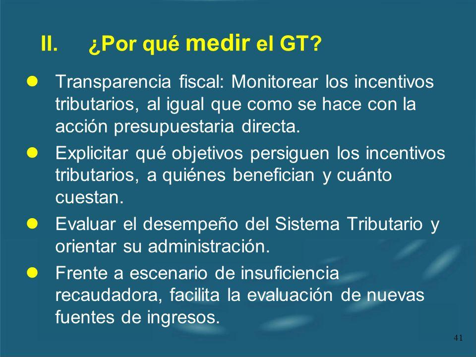 41 II.¿Por qué medir el GT? lTransparencia fiscal: Monitorear los incentivos tributarios, al igual que como se hace con la acción presupuestaria direc