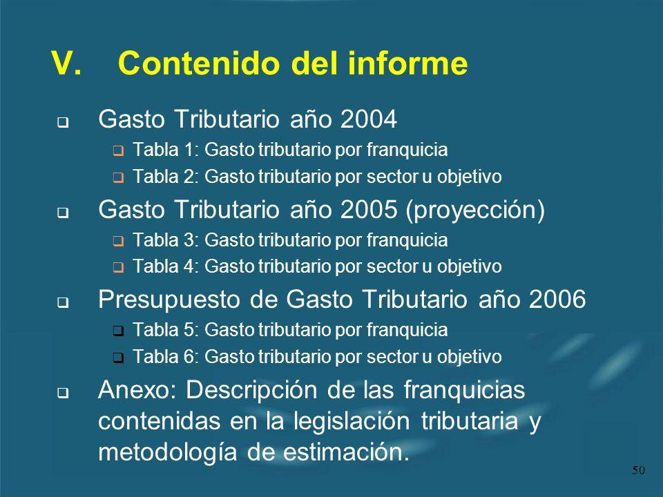 50 V.Contenido del informe Gasto Tributario año 2004 Tabla 1: Gasto tributario por franquicia Tabla 2: Gasto tributario por sector u objetivo Gasto Tr