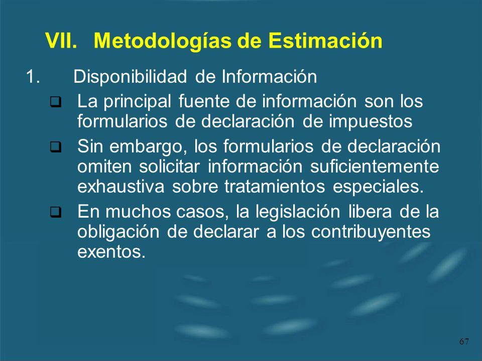 67 VII.Metodologías de Estimación 1.Disponibilidad de Información La principal fuente de información son los formularios de declaración de impuestos S