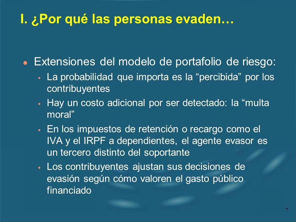 7 l Extensiones del modelo de portafolio de riesgo: w La probabilidad que importa es la percibida por los contribuyentes w Hay un costo adicional por