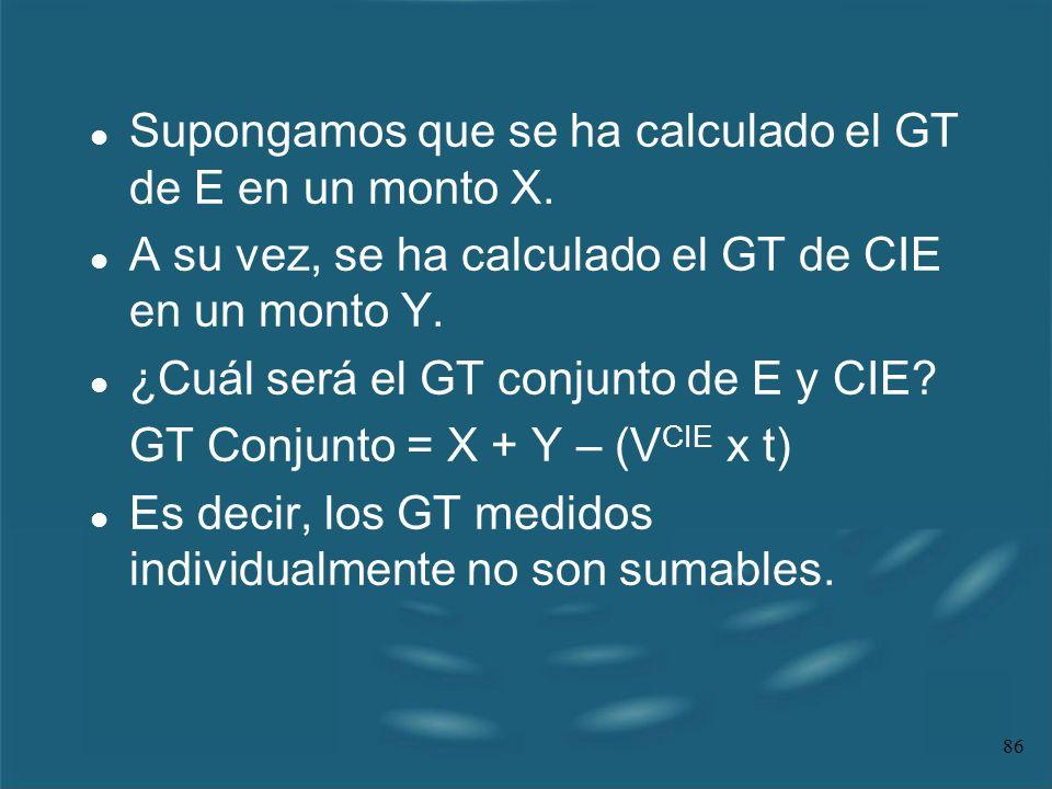 86 l Supongamos que se ha calculado el GT de E en un monto X. l A su vez, se ha calculado el GT de CIE en un monto Y. l ¿Cuál será el GT conjunto de E