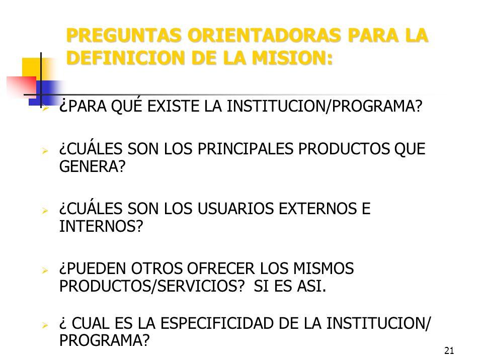 20 MISION Declaración fundamental que le da el carácter constitutivo a la organización y a su acción, establece su mandato Fija los los propósitos, fi