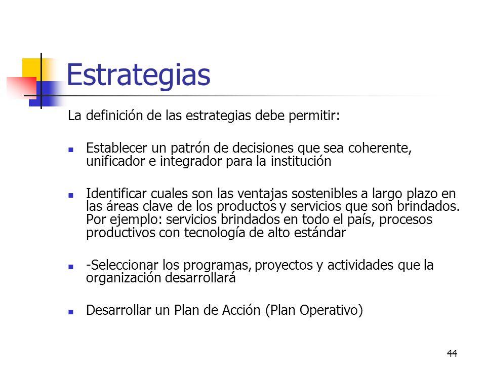 43 Algunas preguntas validadoras de los Objetivos Estratégicos Objetivo Estratégico 1 Objetivo Estratégico 2 Objetivo Estratégico 3 Son consistentes c