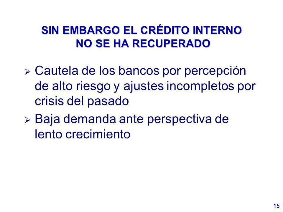15 SIN EMBARGO EL CRÉDITO INTERNO NO SE HA RECUPERADO Cautela de los bancos por percepción de alto riesgo y ajustes incompletos por crisis del pasado Baja demanda ante perspectiva de lento crecimiento