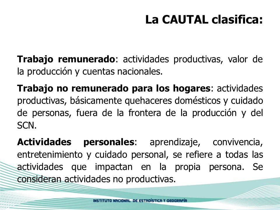 La CAUTAL clasifica: Trabajo remunerado: actividades productivas, valor de la producción y cuentas nacionales. Trabajo no remunerado para los hogares: