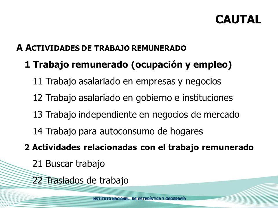CAUTAL A A CTIVIDADES DE TRABAJO REMUNERADO 1 Trabajo remunerado (ocupación y empleo) 11 Trabajo asalariado en empresas y negocios 12 Trabajo asalaria
