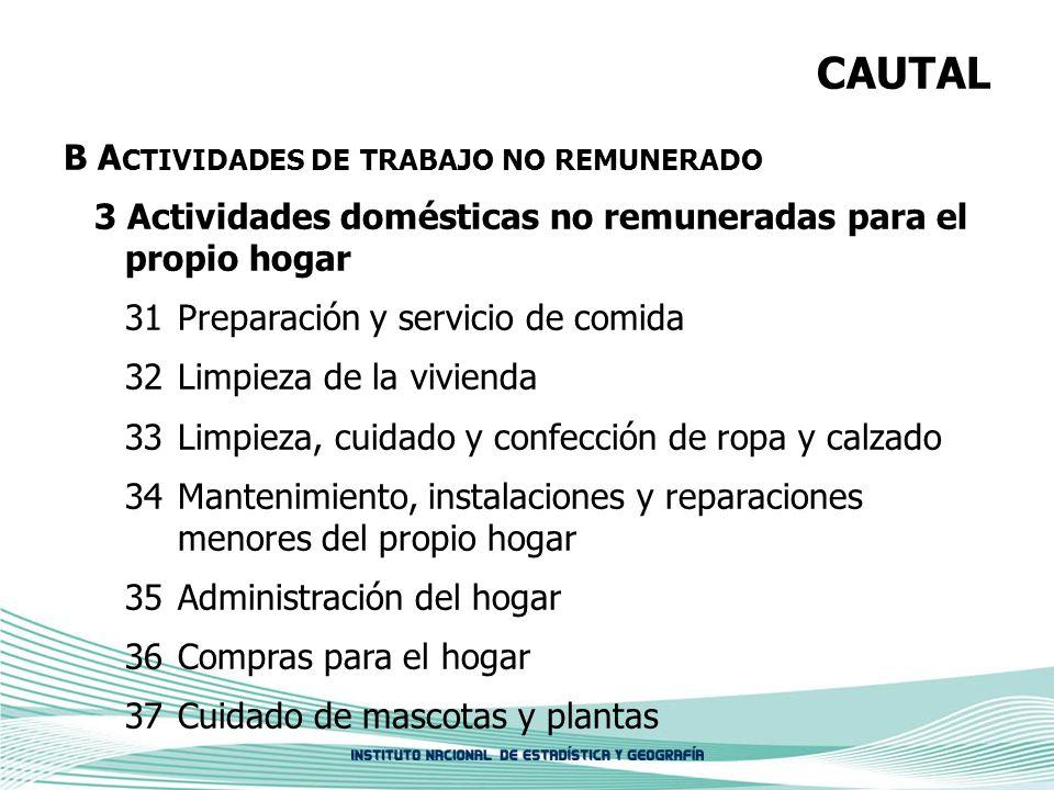CAUTAL B A CTIVIDADES DE TRABAJO NO REMUNERADO 3 Actividades domésticas no remuneradas para el propio hogar 31Preparación y servicio de comida 32 Limp