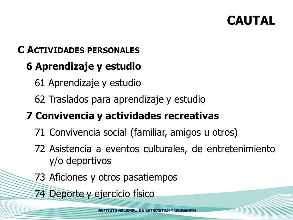CAUTAL C A CTIVIDADES PERSONALES 6 Aprendizaje y estudio 61 Aprendizaje y estudio 62 Traslados para aprendizaje y estudio 7 Convivencia y actividades