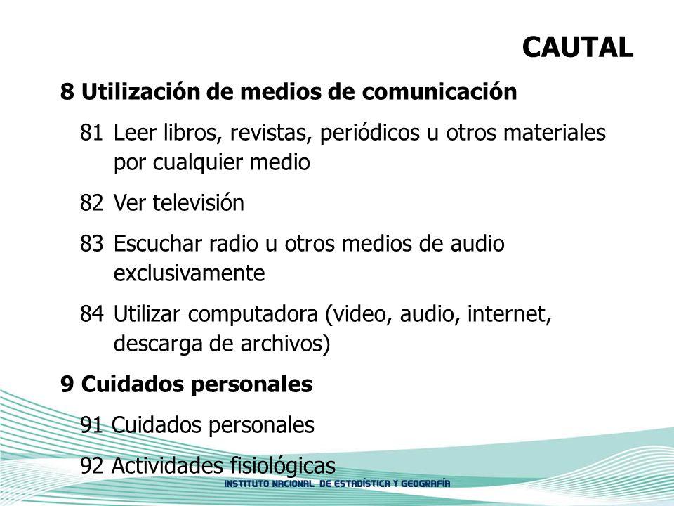 CAUTAL 8 Utilización de medios de comunicación 81 Leer libros, revistas, periódicos u otros materiales por cualquier medio 82 Ver televisión 83 Escuch