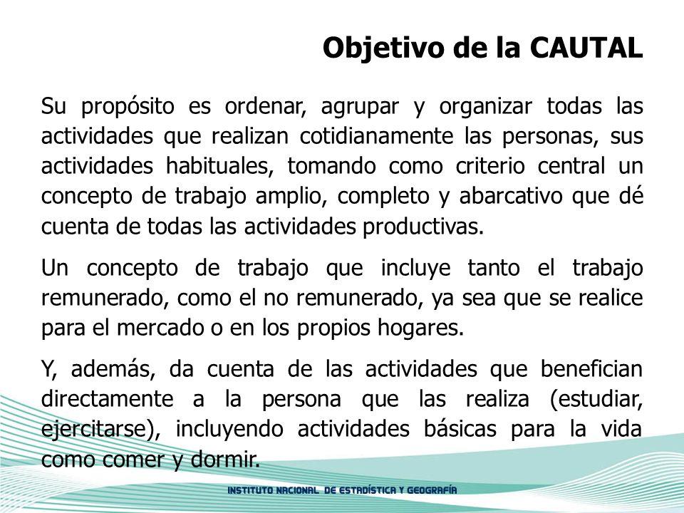 Objetivo de la CAUTAL Su propósito es ordenar, agrupar y organizar todas las actividades que realizan cotidianamente las personas, sus actividades hab