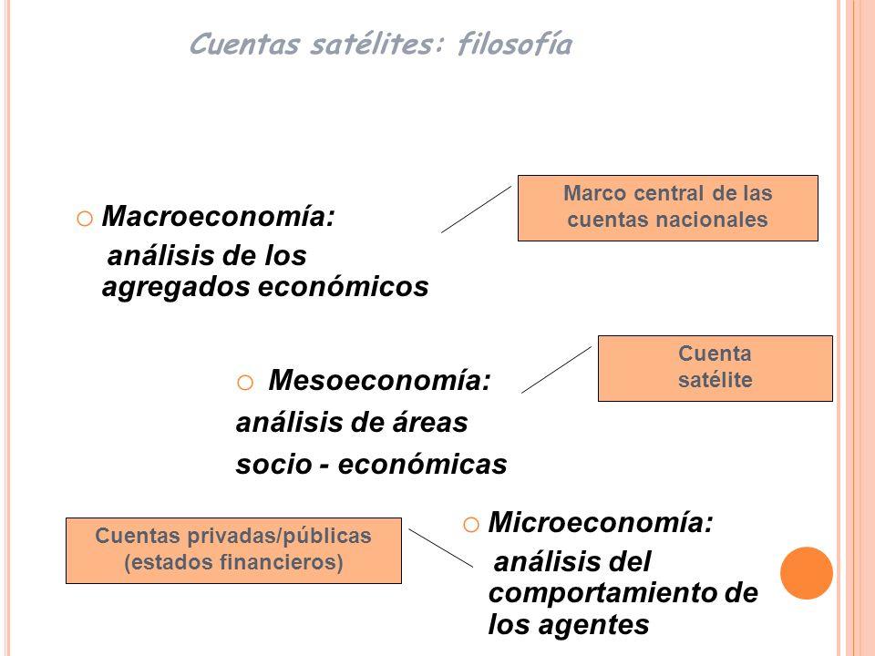 Petróleo TICs Educación Salud Turismo Cultura Ambiente Trabajo no remunerado Cuentas satélites: áreas