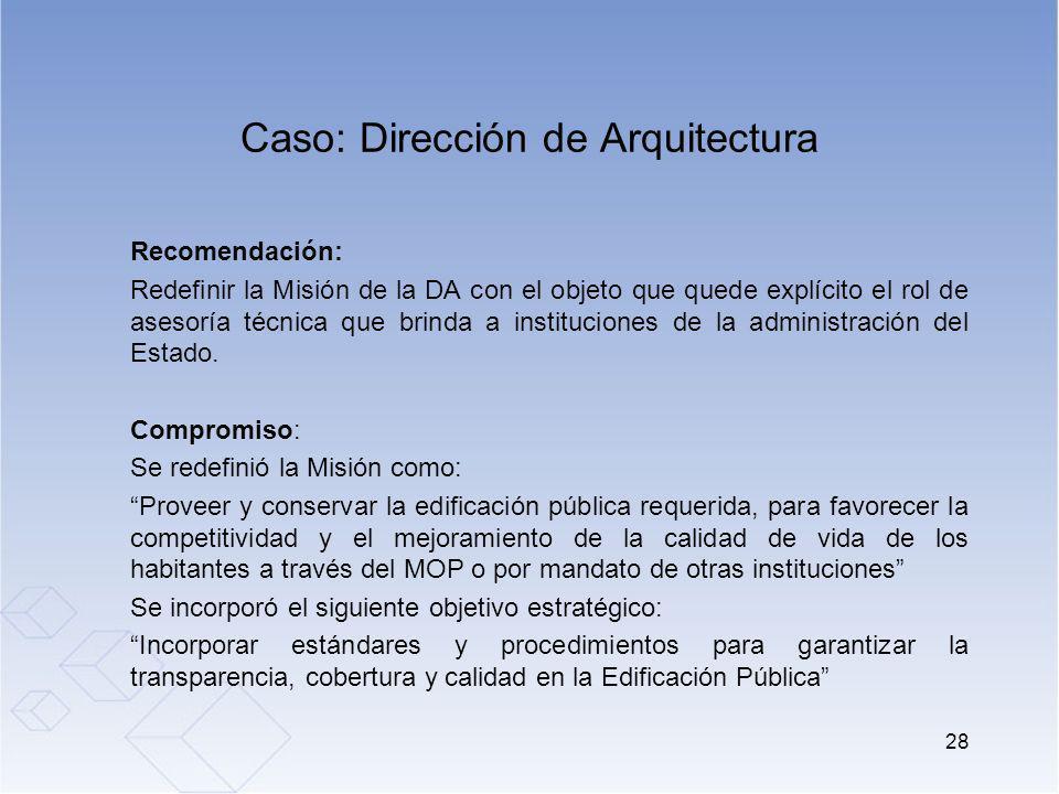 Caso: Dirección de Arquitectura Recomendación: Redefinir la Misión de la DA con el objeto que quede explícito el rol de asesoría técnica que brinda a