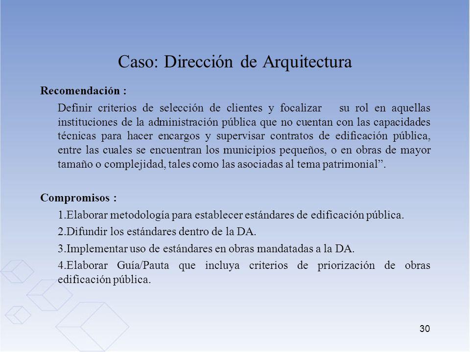 Caso: Dirección de Arquitectura Recomendación : Definir criterios de selección de clientes y focalizar su rol en aquellas instituciones de la administ