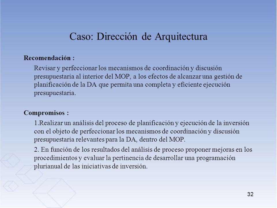 Caso: Dirección de Arquitectura Recomendación : Revisar y perfeccionar los mecanismos de coordinación y discusión presupuestaria al interior del MOP,
