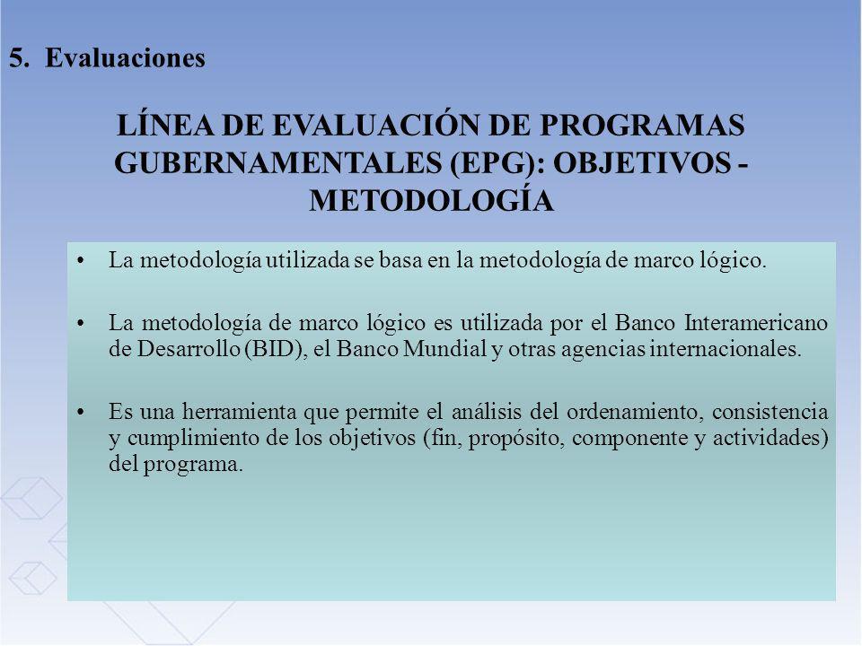 LÍNEA DE EVALUACIÓN DE PROGRAMAS GUBERNAMENTALES (EPG): OBJETIVOS - METODOLOGÍA La metodología utilizada se basa en la metodología de marco lógico. La