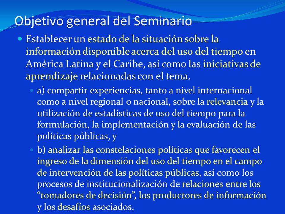 Objetivo general del Seminario Establecer un estado de la situación sobre la información disponible acerca del uso del tiempo en América Latina y el C
