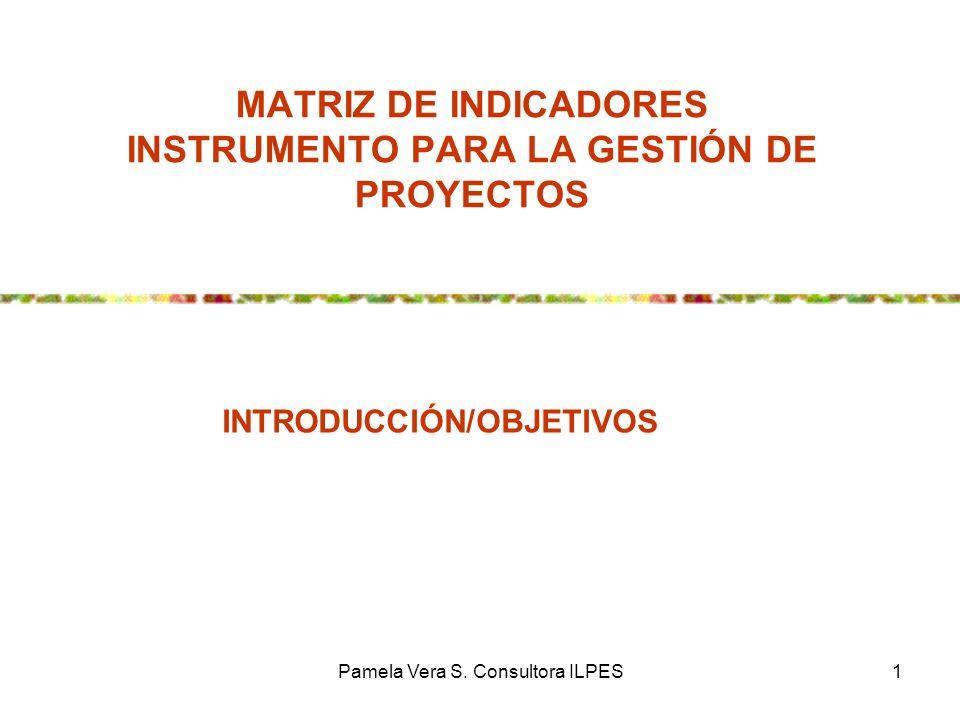 Pamela Vera S. Consultora ILPES1 MATRIZ DE INDICADORES INSTRUMENTO PARA LA GESTIÓN DE PROYECTOS INTRODUCCIÓN/OBJETIVOS