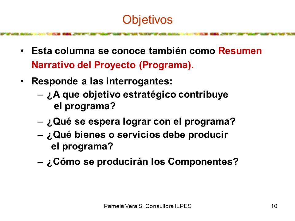 Pamela Vera S. Consultora ILPES10 Objetivos Esta columna se conoce también como Resumen Narrativo del Proyecto (Programa). Responde a las interrogante