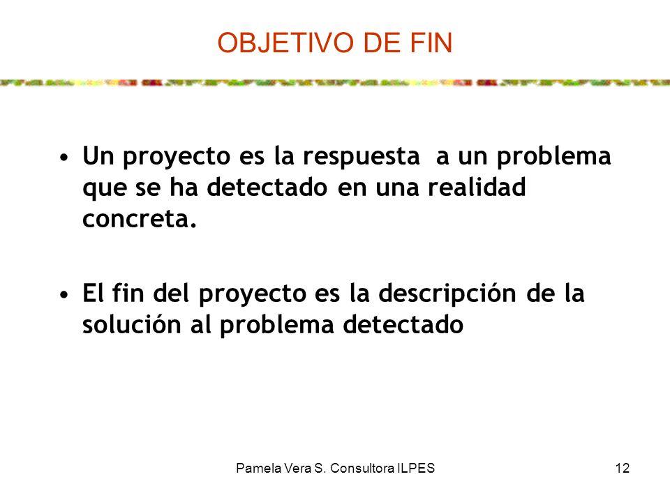 Pamela Vera S. Consultora ILPES12 OBJETIVO DE FIN Un proyecto es la respuesta a un problema que se ha detectado en una realidad concreta. El fin del p