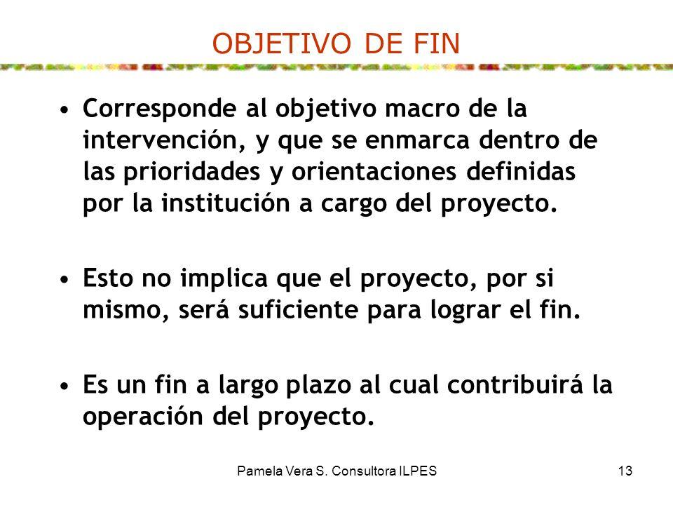 Pamela Vera S. Consultora ILPES13 OBJETIVO DE FIN Corresponde al objetivo macro de la intervención, y que se enmarca dentro de las prioridades y orien