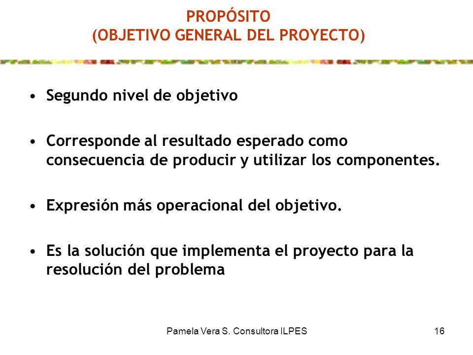 Pamela Vera S. Consultora ILPES16 PROPÓSITO (OBJETIVO GENERAL DEL PROYECTO) Segundo nivel de objetivo Corresponde al resultado esperado como consecuen