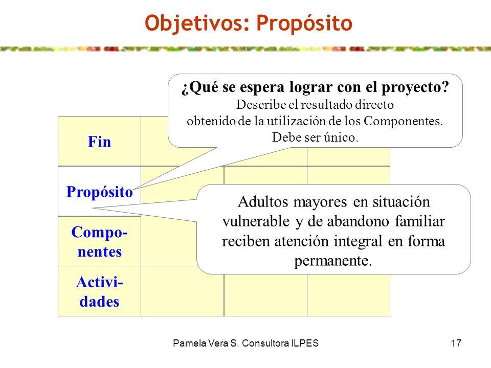 Pamela Vera S. Consultora ILPES17 Objetivos: Propósito Fin Propósito Compo- nentes Activi- dades ¿Qué se espera lograr con el proyecto? Describe el re