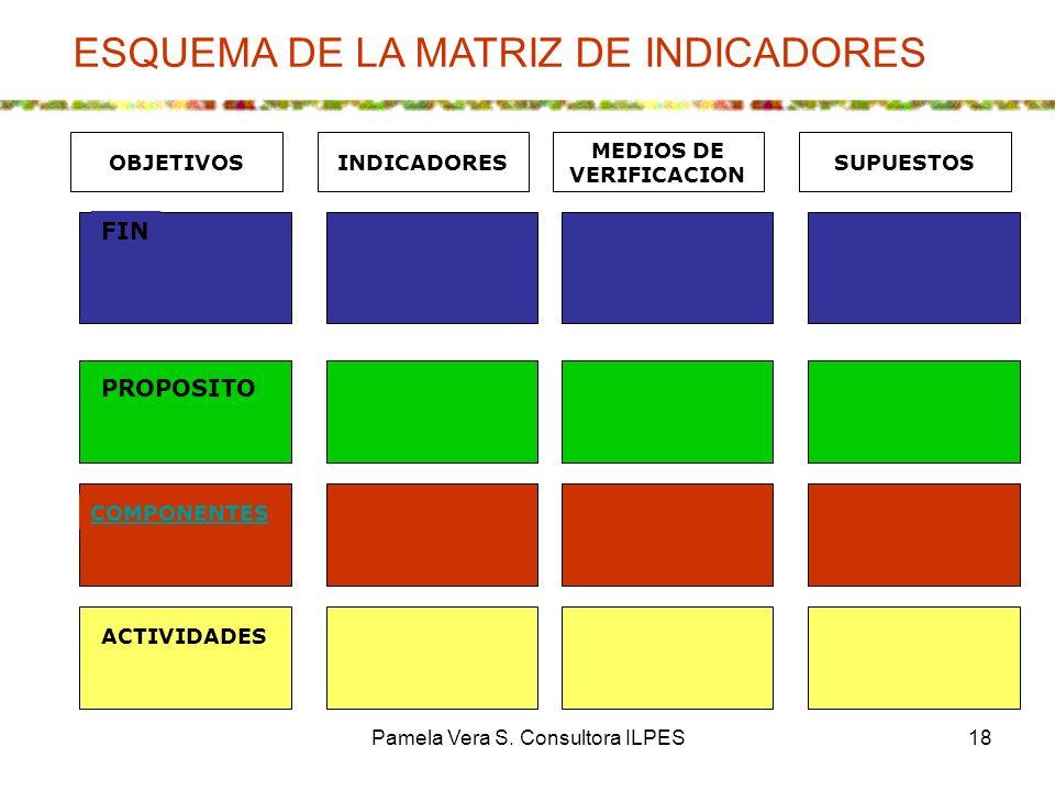 Pamela Vera S. Consultora ILPES18 PROPOSITO COMPONENTES FIN ACTIVIDADES MEDIOS DE VERIFICACION SUPUESTOSINDICADORESOBJETIVOS ESQUEMA DE LA MATRIZ DE I