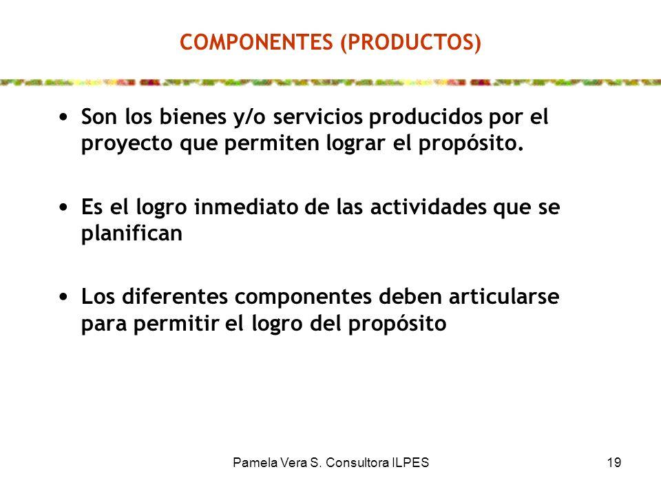 Pamela Vera S. Consultora ILPES19 COMPONENTES (PRODUCTOS) Son los bienes y/o servicios producidos por el proyecto que permiten lograr el propósito. Es