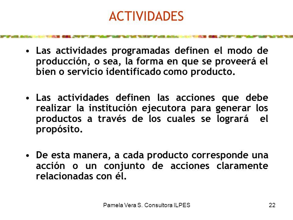 Pamela Vera S. Consultora ILPES22 ACTIVIDADES Las actividades programadas definen el modo de producción, o sea, la forma en que se proveerá el bien o