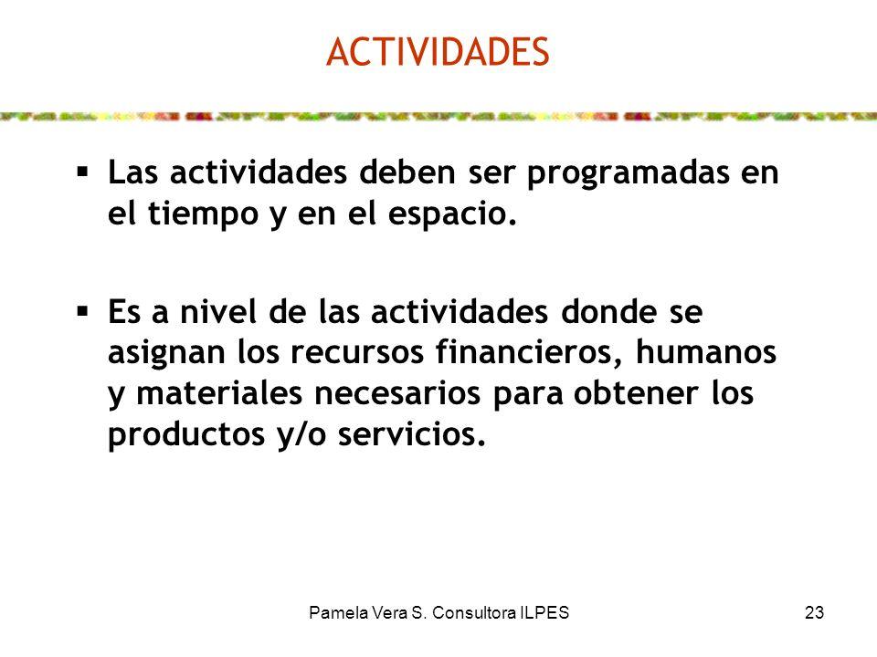 Pamela Vera S. Consultora ILPES23 ACTIVIDADES Las actividades deben ser programadas en el tiempo y en el espacio. Es a nivel de las actividades donde